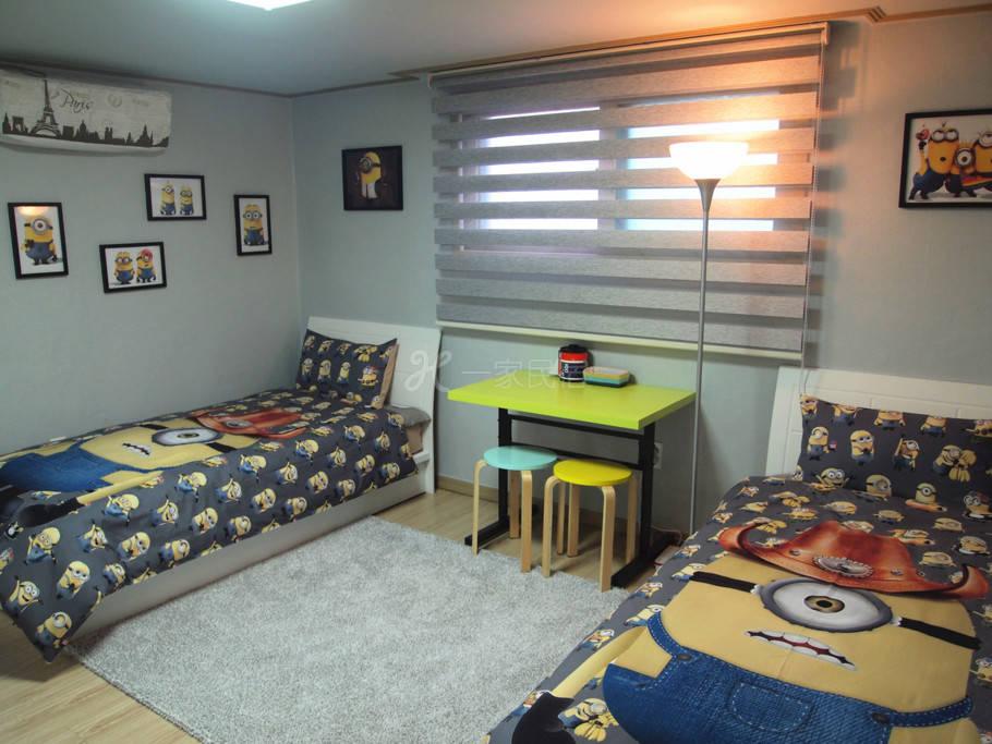 韩国首尔娃娃民宿 独立厨卫公寓式双床房