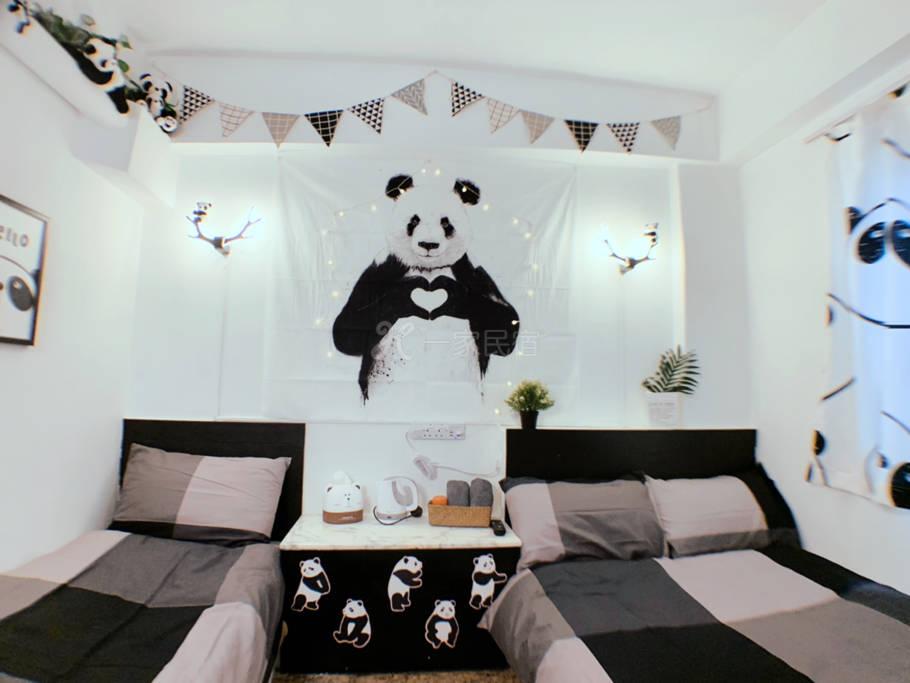 熊猫双床房